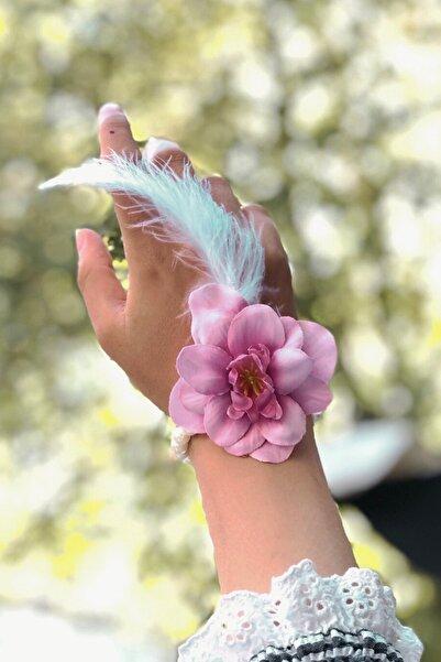 Huzur Party Store Bride To Be 10 Adet Nedime Gelin Bilekliği Tüy Ve Inci Detaylı Koyu Pembe Bekarlığa Veda Partisi