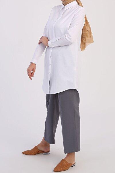 ALLDAY Beyaz Basic Gizli Patlı Gömlek Tunik