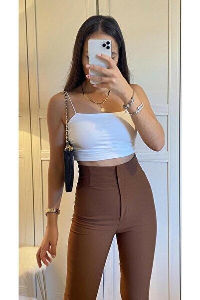 DreamModa Kadın Acı Kahverengi Ekstra Yüksel Bel Toparlayıcı Kumaş Pantolon