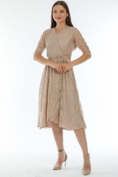 Elbise Delisi Krem Büyük Beden Anvelop Fransız Güpür Elbise