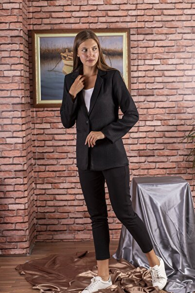 STAMINA Kadın Premium Düz Tek Düğmeli Uzun Ceket - 7ck01
