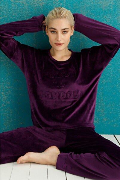 PİJAMAWOME Kadın Fransız Kadife Baskılı Mor Pijama Takımı