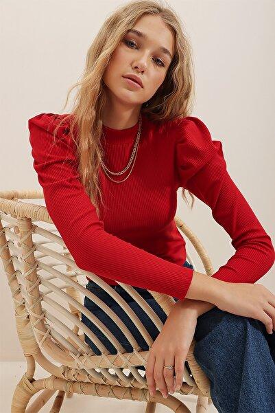 Trend Alaçatı Stili Kadın Kırmızı Prenses Kol Yarım Balıkçı Şardonlu Crop Bluz ALC-X5042