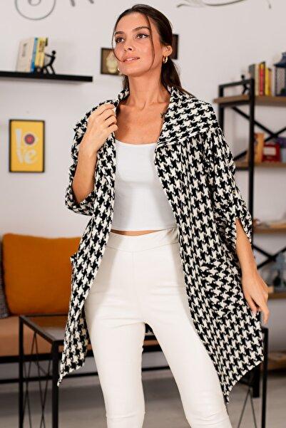 armonika Kadın Beyaz Büyük Kazayaği Desen Salaş Ceket ARM-22K001009