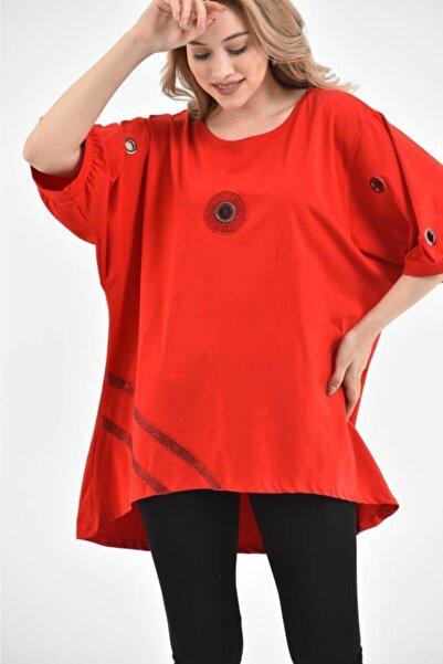 Modkofoni Yuvarlak Yaka Kısa Kollu Kuş Gözlü Taşlı Kırmızı Kadın Elbise