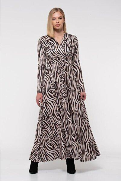 Modkofoni V Yaka Dekolte Zebra Desenli Kemerli Kadife Elbise