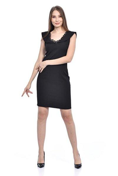 Modkofoni V Yaka Dantel Detaylı Siyah Kadın Abiye Elbise