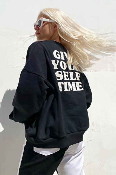 SwistLuxury Siyah Give Your Self Ön Ve Arka Baskılı Içi Pamuklu Sweatshirt