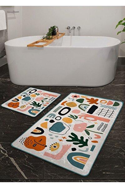 Pilloveland Kaymaz Taban Yıkanabilir 2'li Banyo Paspası - Soyut Desenli 60*100 Cm - 50*60 Cm