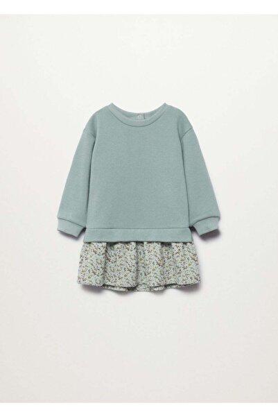 MANGO Baby Bebek Nane Yeşili Üst Kısmı Kontrast Desenli Elbise