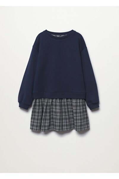 MANGO Kids Eteği Kareli Sweatshirt Elbise