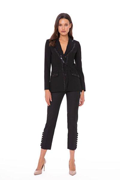 xGIZIA Payet Dantel Detaylı Şık Siyah Blazer Ceket