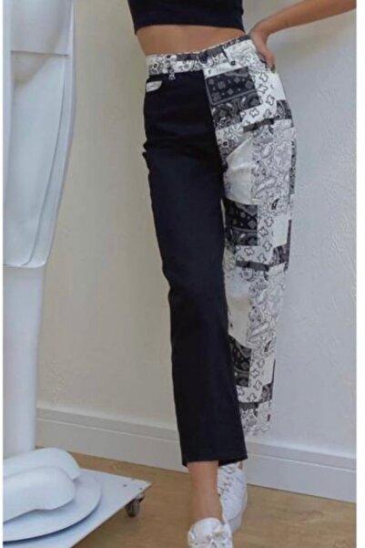 CALALUNA Kadın Lacivert Baskı Detaylı Çift Renk Mom Jeans