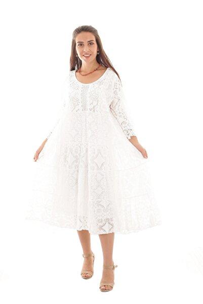 Otantik Tekstil Kadın Yazlık Italyan Beyaz Midi Boy Güpürlü Şık Otantik Elbise