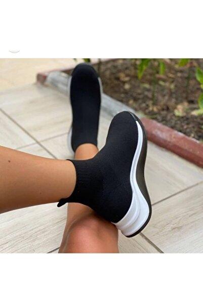 Caddee Kadın Siyah Streç Triko Çorap Bot