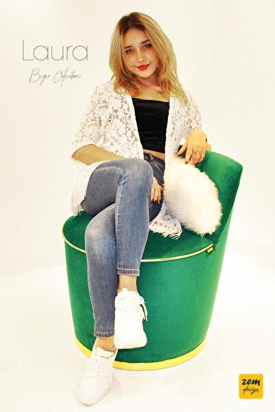 Zem Laura Berjer Yeşil Gold Beyaz Peluş Sırt Yastığı