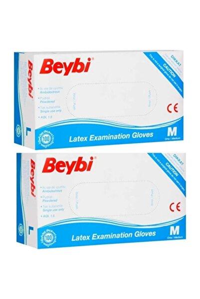 Beybi Pudralı Lateks Muayene Eldiveni M Beden 2li ( 2 Paket) Tyc00204667138