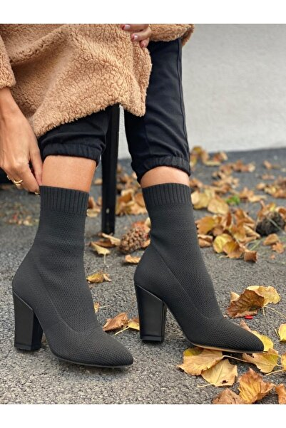YUNA Kadın Siyah Çorap Bot