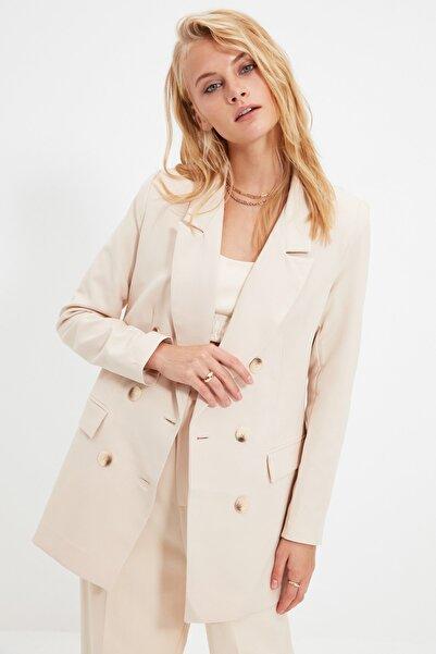 TRENDYOLMİLLA Bej Düğmeli Oversize Blazer Ceket TWOAW20CE0130