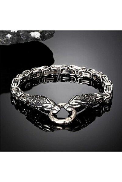 Viking Paslanmaz Çelik Çift Ejderha Kafa Kral Zincir Yılan Bileklik 21 Cm