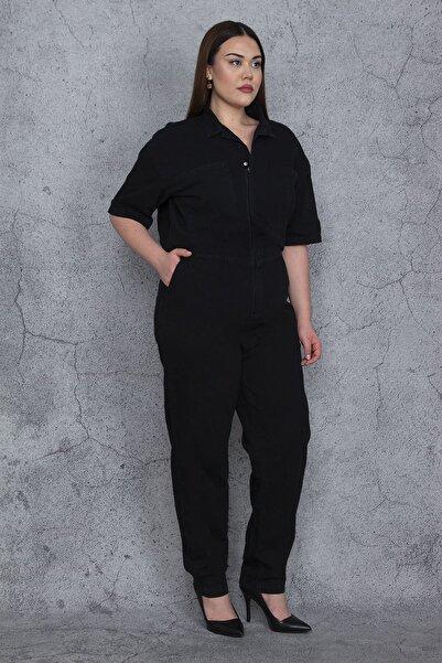 Şans Kadın Siyah Üst Kısmı Gizli Pat Fermuarlı Yan Arka Ve Göğüs Cepli Kot Tulum 65N27910