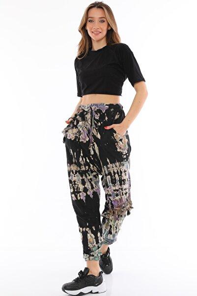 Alışveriş Sokağı Viskos Kumaş Batik Desenli Etnik Tasarım Kadın Şalvar