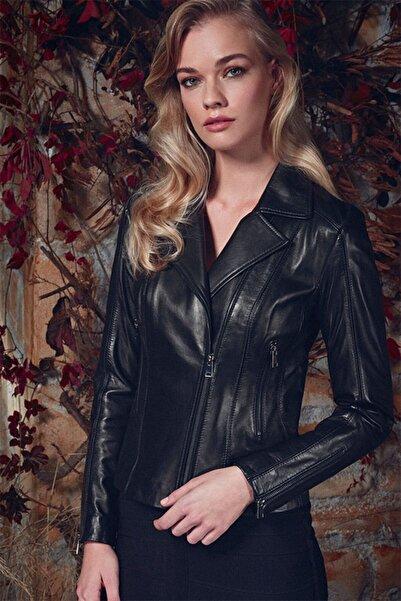 Derimod Kadın Siyah Kiara Deri Ceket