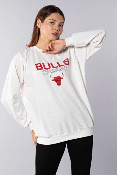 BARRELS AND OIL Chicago Bulls Baskılı Sweatshirt - Ekru