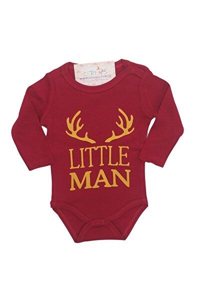 Fuar Baby Küçük Adam Baskılı Sarı Kırmızı %100 Pamuk Erkek Bebek Body