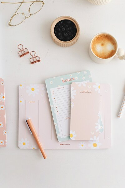 Matt Notebook 3'lü Masaüstü Planlayıcı Set Papatya