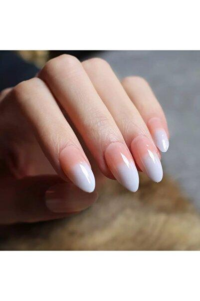 EDA LUXURY BEAUTY Pembe Beyaz Ombre French Takma Tırnak Lüks Parlak Doğal Uzun Oval Stiletto Nail Art Set