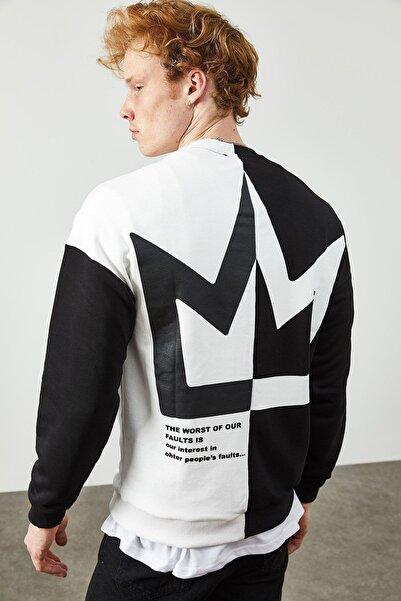 XHAN Siyah Iki Renkli Arkası Baskılı Sweatshirt 2kxe8-45359-02