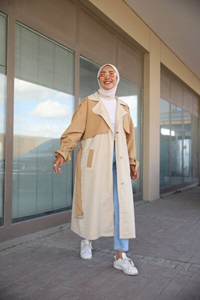 Butik Merve Aydın Kadın Bej Kahve Detay Trençkot