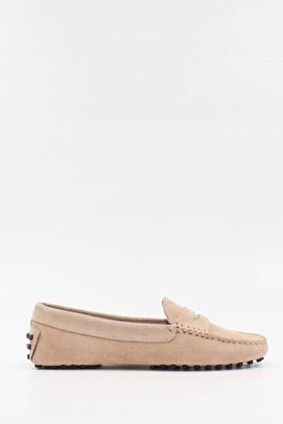 Kadın Bej Deri Süet Loafer Ayakkabı