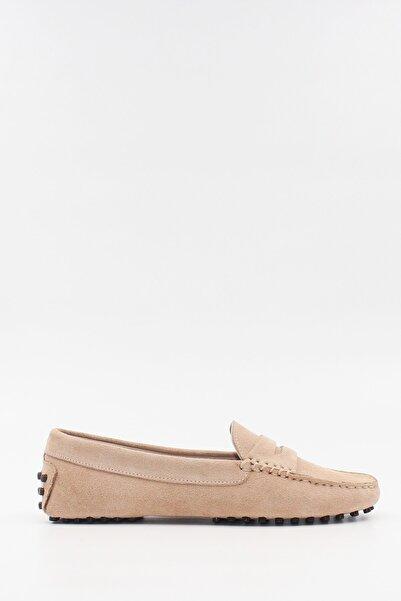 West To West Kadın Bej Deri Süet Loafer Ayakkabı