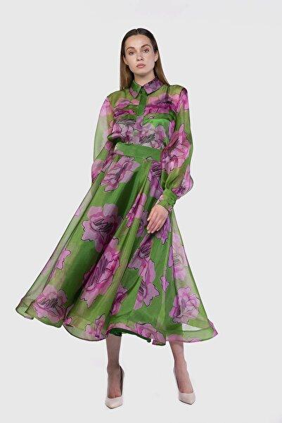 xGIZIA Yeşil Çiçekli Kloş Etek