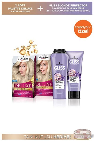 Schwarzkopf 10-2 Platin Sarısı X 2 Adet + Blonde Perfector Mor Şampuan 250 Ml + Mor Maske 200 + Takı Kutusu