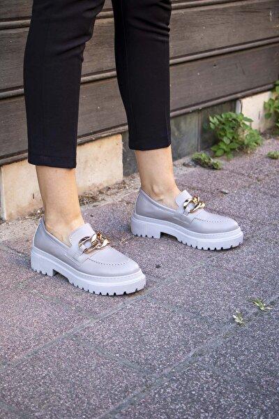 Wenti Shoes Zincirli Gri Kalın Taban Loafer Ayakkabı