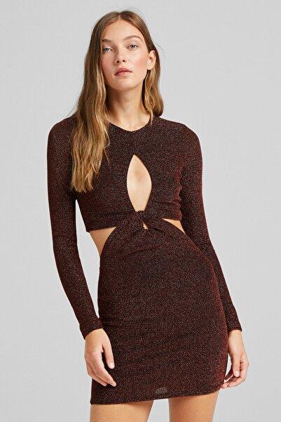 Bershka Uzun Kollu Pencere Detaylı Mini Elbise
