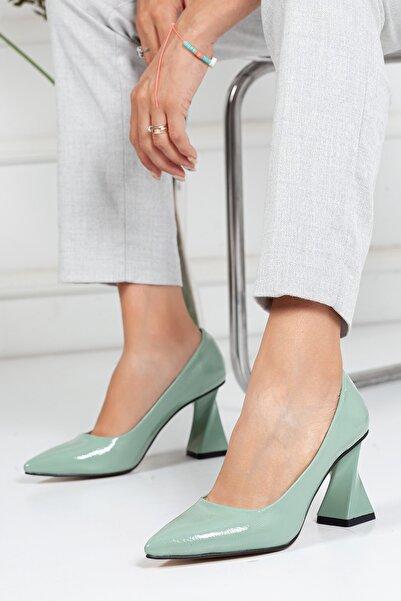 Juseshoes , Özel Üretim, Tarz Topuk, Su Yeşili Kırışık Rugan Lüks Stiletto, Kadın