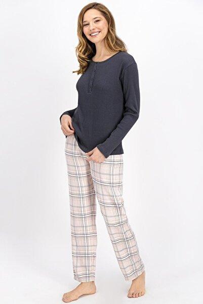 Arnetta Basic Ekose Antrasit Kadın Pijama Takımı