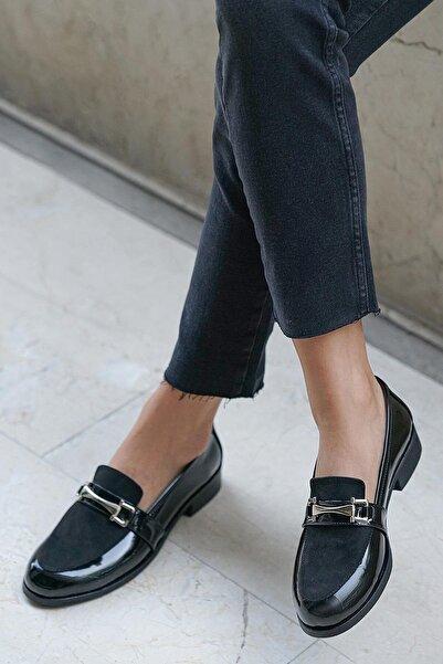 Mio Gusto Siyah Rugan Bayan Oxford Ayakkabı
