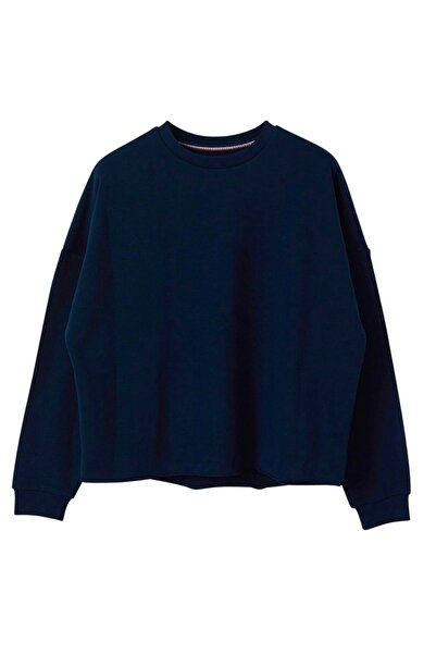 BASIC&CO Oversized Basic Lacivert Sweatshirt
