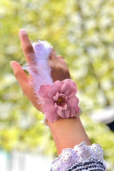Huzur Party Store Bride To Be 10 Adet Nedime Gelin Bilekliği Tüy Inci Detaylı Pudra Pembe Renk Bekarlığa Veda Partisi