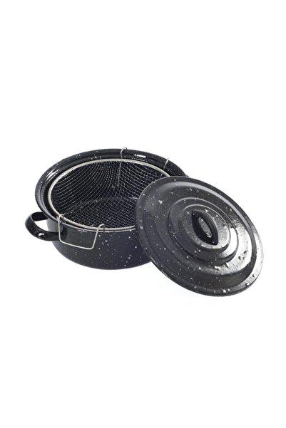 Essen J52  Siyah Kapaklı Emaye 25 cm Cips Fritöz Kızartma Tenceresi 2019st000000306