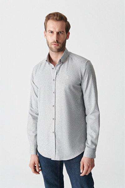 Avva Erkek Açık Gri Düz Düğmeli Yaka Comfort Fit Gömlek E002003