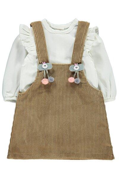 Civil Baby Kız Bebek Ponponlu Elbise 6-18 Ay Kahve