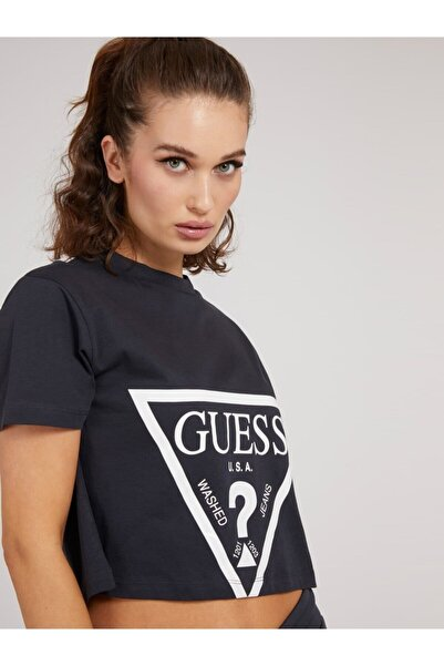 Guess Adele Crop Lacivert Kadın Tişört
