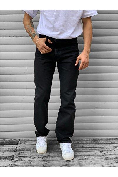 Jenalli Erkek Siyah Düz Boyfriend Normal Bel Rahat Kalıp Jean Kot Pantolon