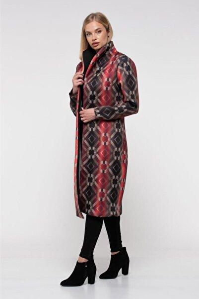 Modkofoni Kemerli Güneş Desenli Uzun Bordo Kadın Ceket